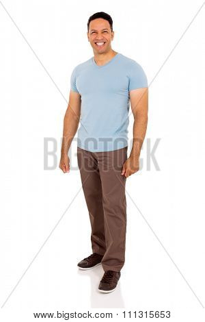happy mid age man standing on white background