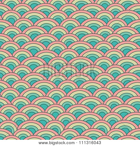 Geometry seamless vector pattern fish scale in soft pastel colors