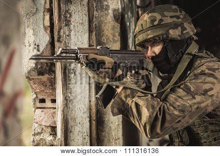 Soldier Using Weapon