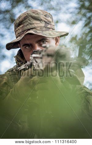 Closeup Of Army Sniper