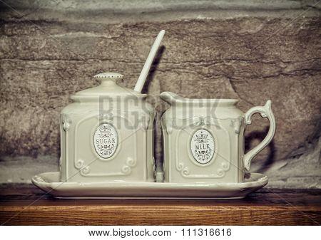 Two Retro Ceramic Sugar Bowls