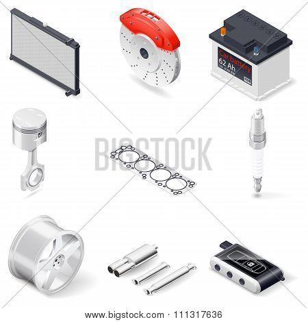 Car Parts Isometric Icon Set