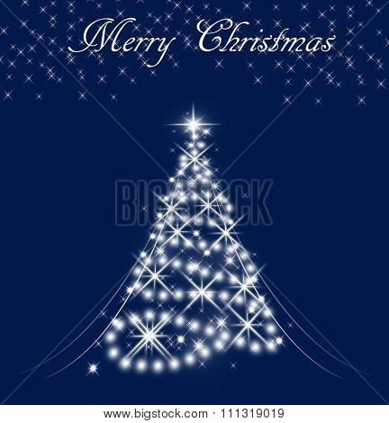 Background image of Christmas tree with Merry Christmas text