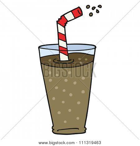 freehand drawn cartoon fizzy drink in glass