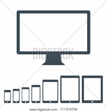 Gadget And Device Icons Set Gray Color On The White Background. Stock Vector Illustration Eps10