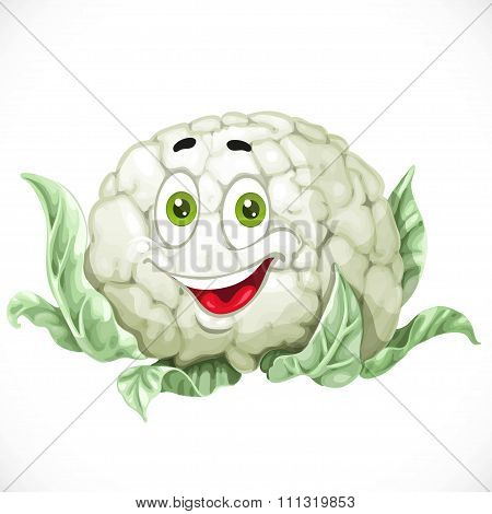 Cartoon Smiling Cauliflower Isolated On White Background