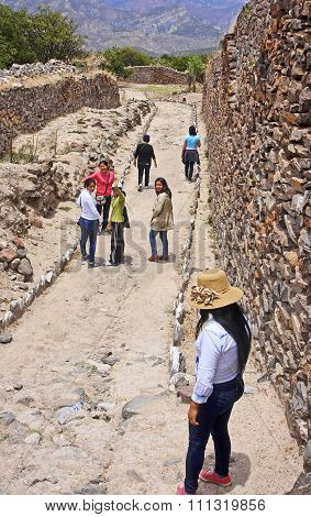 Ayacucho, Peru - November 5, 2015: Tourists Visiting Wari Ruins