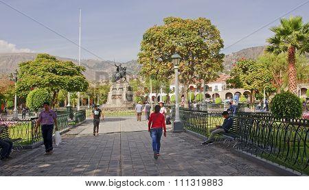 Ayacucho, Peru - November 6, 2015: Monument On The Plaza De Arma