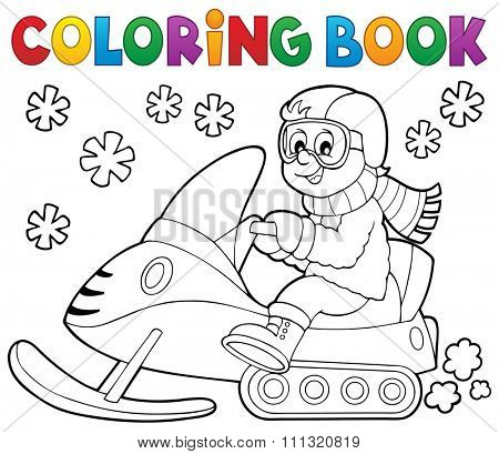 Coloring book snowmobile theme 1 - eps10 vector illustration.