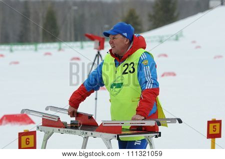 SYKTYVKAR, RUSSIA - APRIL 02, 2013: people preparing ski  for the Russian cross-country ski championship-2013. It had been run by Cross-country ski Federation of Russia in Syktyvkar.