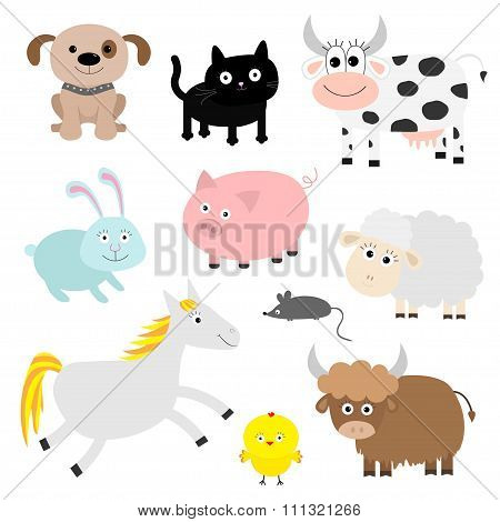 Farm Animal Set. Dog, Cat, Cow, Rabbit, Pig, Ship, Mouse, Horse, Chiken, Bull. Baby Background. Flat