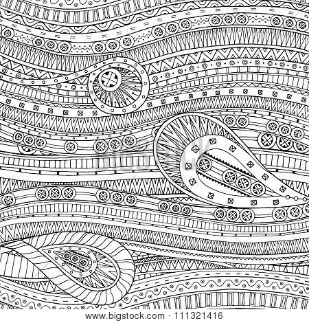 Doodle background in vector with doodle ethnic pattern.