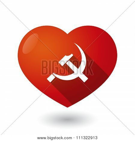 Isolated Red Heart With  The Communist Symbol
