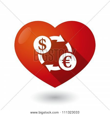 Isolated Red Heart With A Dollar Euro Exchange Sign