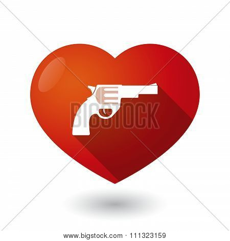 Isolated Red Heart With A Gun