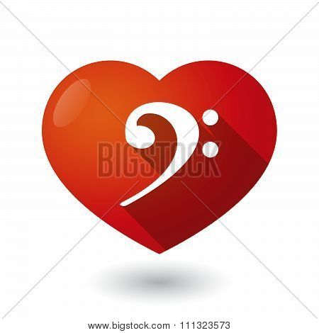 Isolated Red Heart With An F Clef