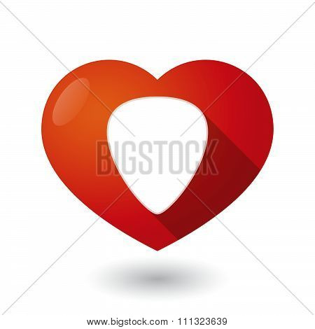 Isolated Red Heart With A Plectrum