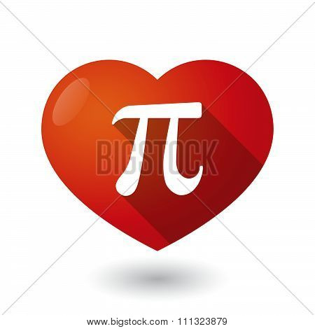 Isolated Red Heart With The Number Pi Symbol