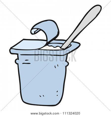 freehand drawn cartoon yogurt