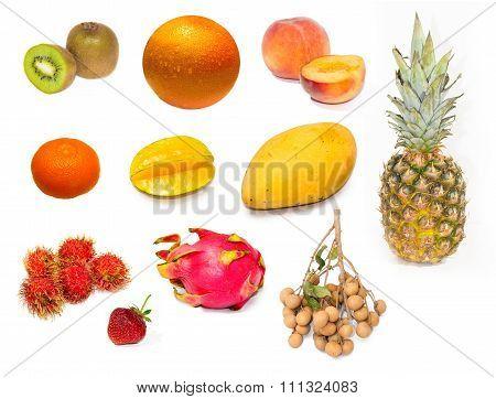 Set of fresh exotic fruits