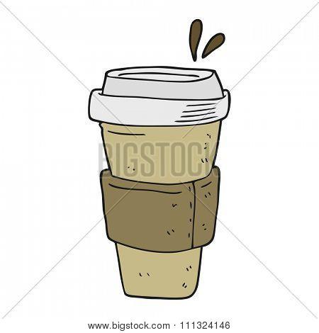freehand drawn cartoon coffee cup