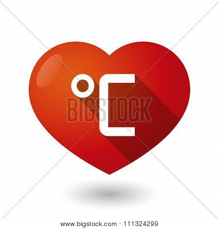 Isolated Red Heart With  A Celsius Degree Sign