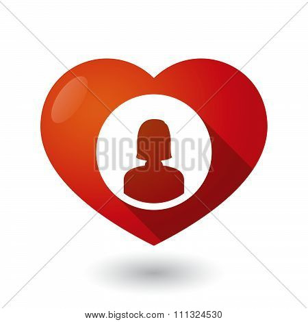 Isolated Red Heart With A Female Avatar