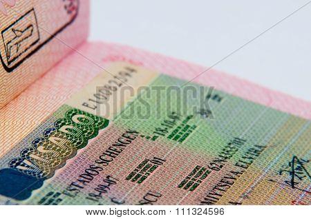 Schengen visa in passport