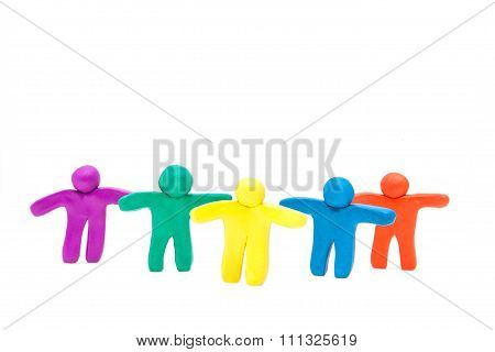 Large group of  plasticine human .