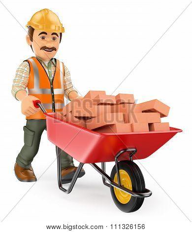 3D Construction Worker With A Wheelbarrow Full Of Bricks
