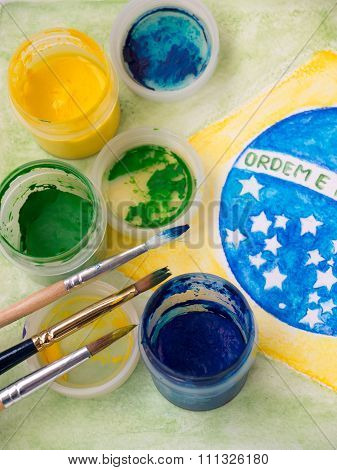 Paints And Brushes On The Brazil Flag Watercolor Painting