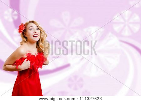 Pretty girl in red dress on blurred digital pink background