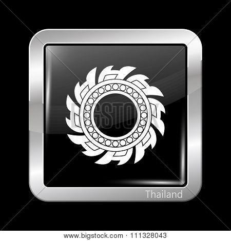 Thailand Variant Flag. Metallic Icon Square Shape
