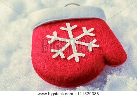 Red Christmas Mitten With White Snowflake