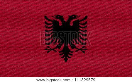 Flags Albania On Denim Texture.