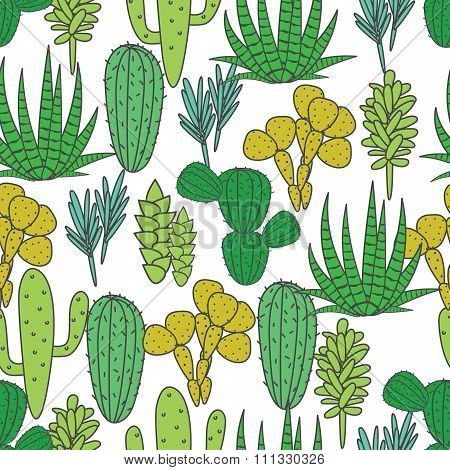 Succulents plant vector seamless pattern. Botanical green and white cactus flora fabric print.