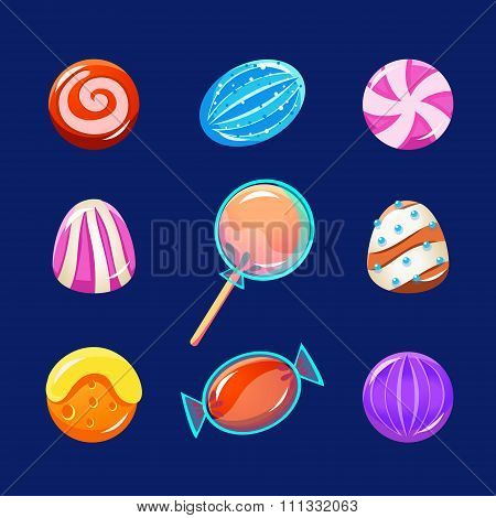 Colorful Glossy Candies with Sparkles. Vector Illustration Collection
