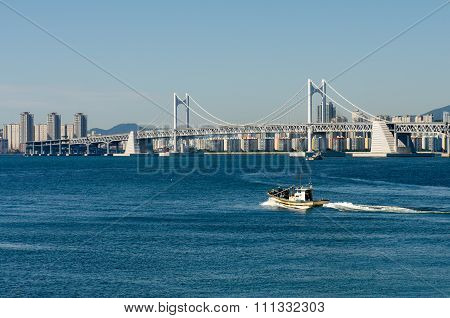 Gwangan Bridge And Busan City In Haeundae In Korea