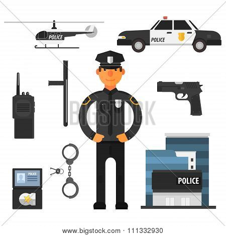Policeman, police department Flat style. Elements for infographic