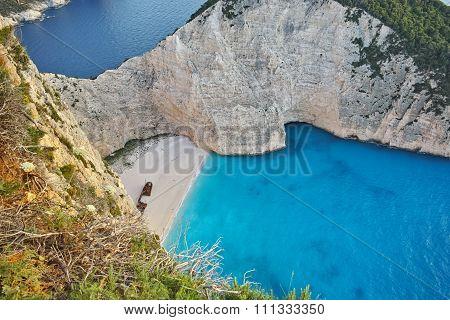 Amazing Panorama of Navagio Shipwreck beach