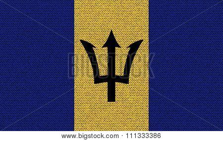 Flags Barbados On Denim Texture.