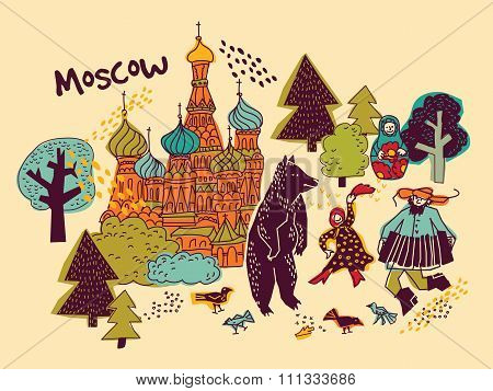 Moscow city color scene.