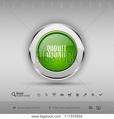 Green and gray chrome glossy button for webdesign