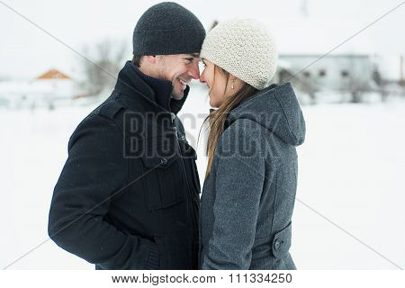 Young Couple outside in the winter season