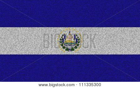 Flags El Salvador On Denim Texture.