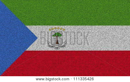 Flags Equatorial Guinea On Denim Texture.
