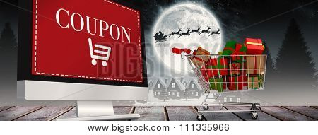 Trolley full of gifts against sale advertisement