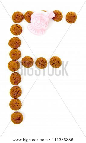Ginger Nuts, Pepernoten, In The Shape Of Letter F Isolated On White Background