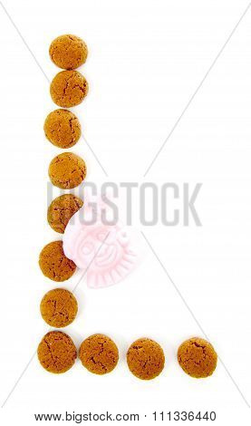 Ginger Nuts, Pepernoten, In The Shape Of Letter L Isolated On White Background