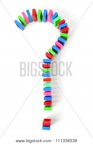 Colorful Domino Bricks In A Shape Of Question Mark